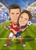 Football Caricature Drawing for a Couple