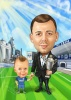 Football Coach Caricature with His Son