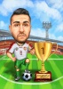 Football Player Caricature with a Trophy