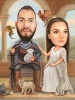 Game of Thrones Caricature with Dragons
