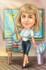 Geography Female Teacher Caricature