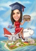 Girl Graduation Caricature on a Plane