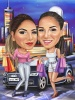 Girlfriends Caricature with Car