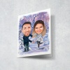 Greeting card with caricature
