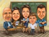 Group Caricature in a School Classroom