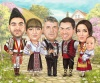 Group Caricature with Folk Motives