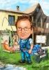 Handyman Fishing Caricature