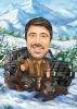 Hunter Caricature in the Winter