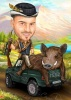 Hunter Caricature with Boar