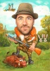 Hunting Caricature for a Man with a Rifle