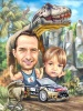 Jurassic Park Caricature for Dad and Son
