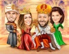 King and Queen Family Caricature