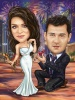 Marriage Proposal Caricature with Fireworks