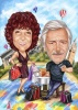 Married Couple Caricature 10 Year Anniversary Gift Idea