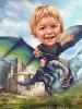 Movie Caricature Boy with Dragon