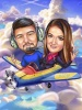 Pilot Caricature for Couple on a Plane