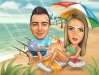 Programmer with Girlfriend on the Beach Caricature Present