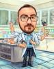 Scientist Caricature Multitasking