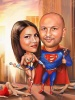 Superheroes Caricature for a Couple