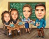 Teacher and Students Group Caricature