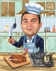 """Thanksgiving Caricature """"Chef Cooking Turkey"""""""
