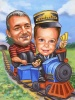 Train Caricature Father and Son