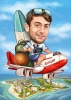 Travel Caricature on a Plane with Luggage