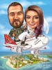 Wedding on an Airplane Caricature
