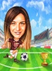 Woman Football Player Caricature